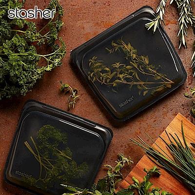 Stasher 方形環保按壓式矽膠密封袋-曜石黑(快)