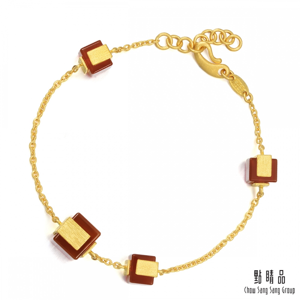 點睛品g collection 純金紅瑪瑙 黃金手環