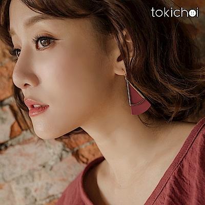 東京著衣 氣質簡約三角幾何耳針式耳環(共一色)