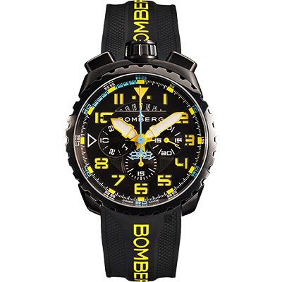 BOMBERG 炸彈錶 BOLT-68 NEON 飛行計時碼錶-黃時標/45mm