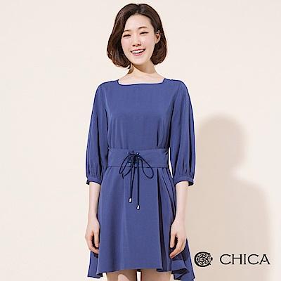 CHICA 復古女伶腰封綁帶傘襬洋裝(1色)