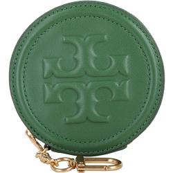 TORY BURCH LOGO 浮雕菱格紋小羊皮零錢包(綠色)