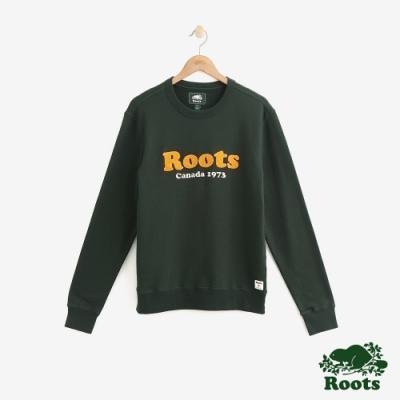 男裝Roots 經典毛圈布短袖連帽上衣-綠