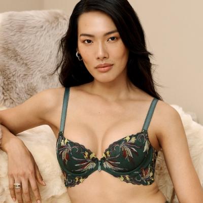 黛安芬-蝴蝶美型系列 D罩杯內衣 翡翠綠