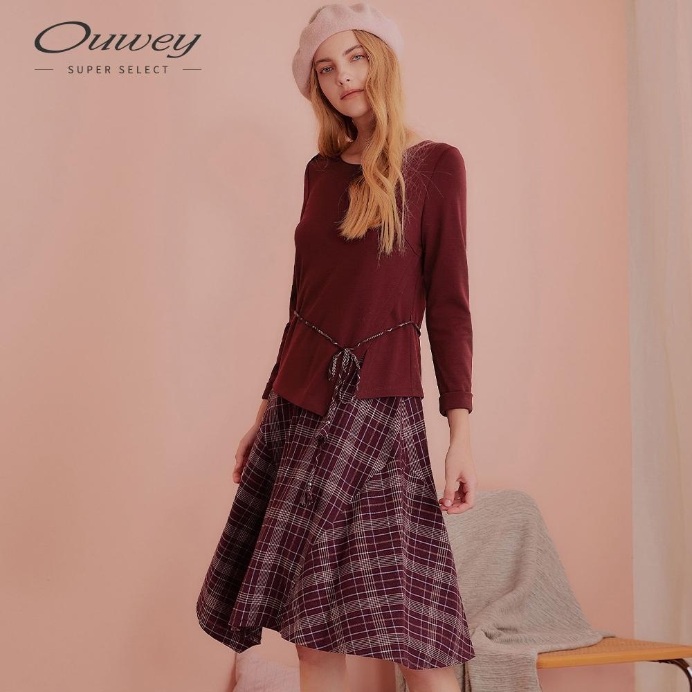 OUWEY歐薇 格紋拼接假兩件長袖洋裝(紅)