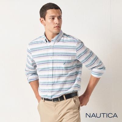 Nautica夏日舒適亞麻條紋長袖襯衫-藍綠條紋