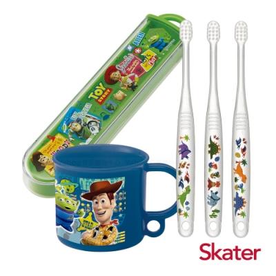 Skater幼兒牙刷套組(0-3歲)-漱口杯+牙刷+牙刷盒-玩具(藍)