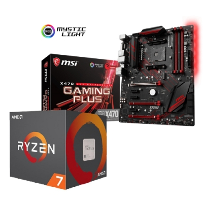 微星 X470 GAMING PLUS 主機板 + AMD R7-2700 處理器組合套餐