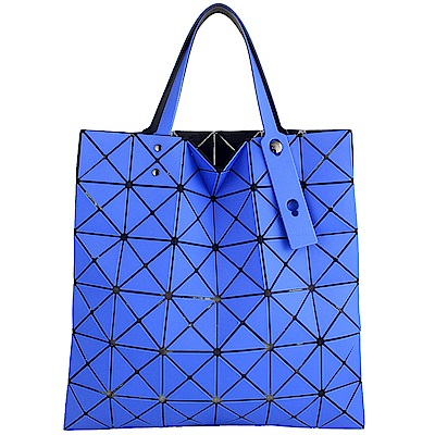 ISSEY MIYAKE 三宅一生BAOBAO斜紋三角格6x6透光手提包(藍)