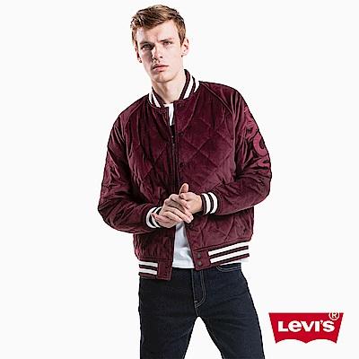 Levis 男款 棒球外套 雙面穿 黑紅異材質 刺繡