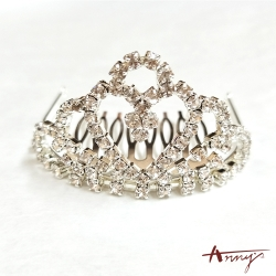 Annys安妮公主百搭配件閃亮亮高質感水鑽皇冠*9901白
