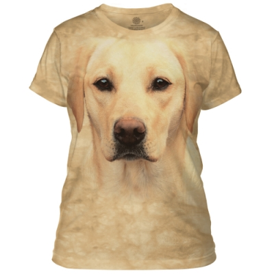 摩達客-美國進口The Mountain 黃拉不拉多犬臉 短袖女版T恤