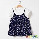 bossini女童-假兩件式吊帶T恤02海藍