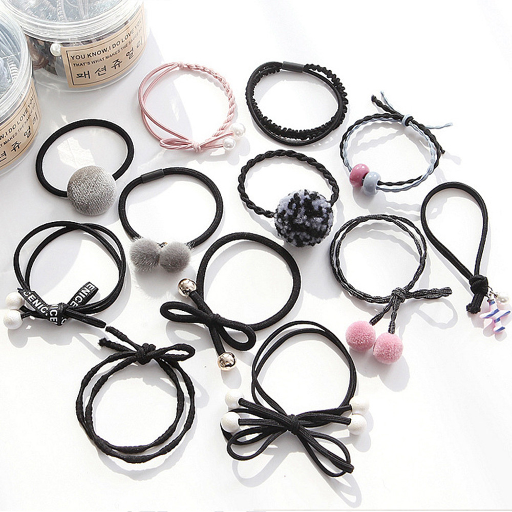 E-dot 氣質毛球珍珠髮飾髮圈12件盒裝組(黑色)