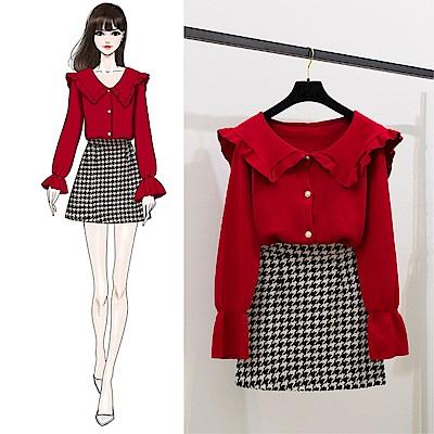 DABI 韓國風針織衫喇叭袖千鳥格套裝長袖裙裝