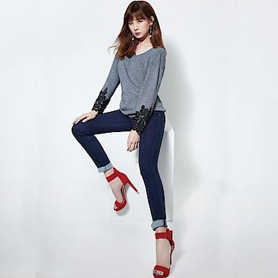 Victoria 中高腰深藍鑲鑚小直筒褲-女-深藍