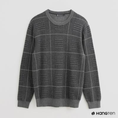 Hang Ten - 男裝 - 簡約風撞色線條長袖圓領上衣 - 灰
