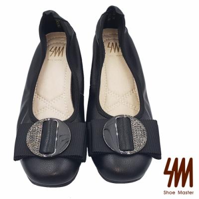 SM-圓頭金屬大飾扣鬆緊後包低跟淑女鞋
