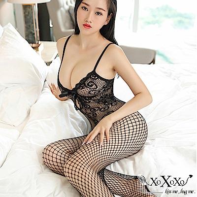 貓裝網衣 浪漫女郎蕾絲花紋連身貓裝 2件組 XOXOXO