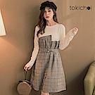 東京著衣 一萬分推薦拼接格紋附綁帶洋裝-S.M(共一色)