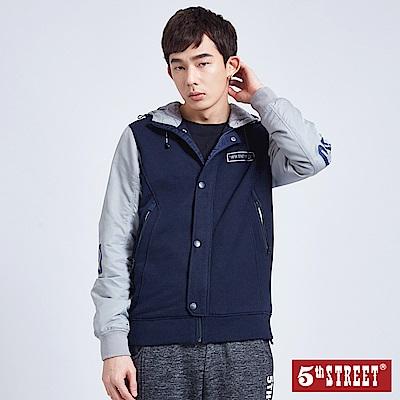 5th STREET 異素材拼袖連帽鋪棉外套-男-丈青