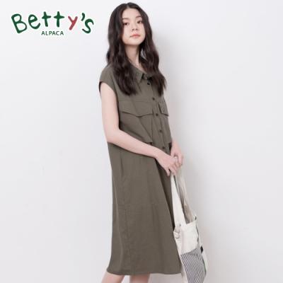 betty's貝蒂思 襯衫領印花寬版大口袋洋裝(深綠)
