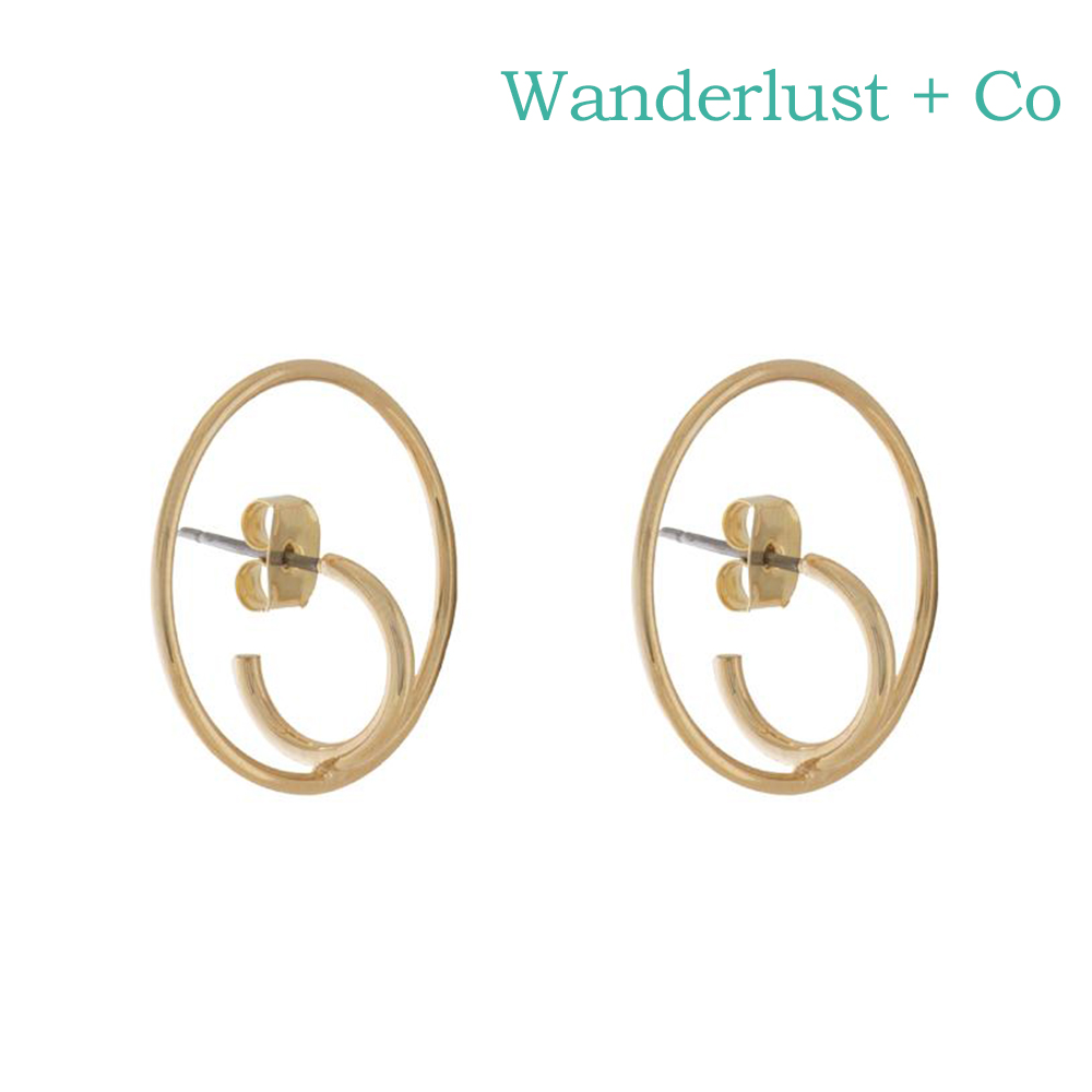 Wanderlust+Co 澳洲時尚品牌 SONAR HOOP幾何圓圈超現實風格耳環 金色