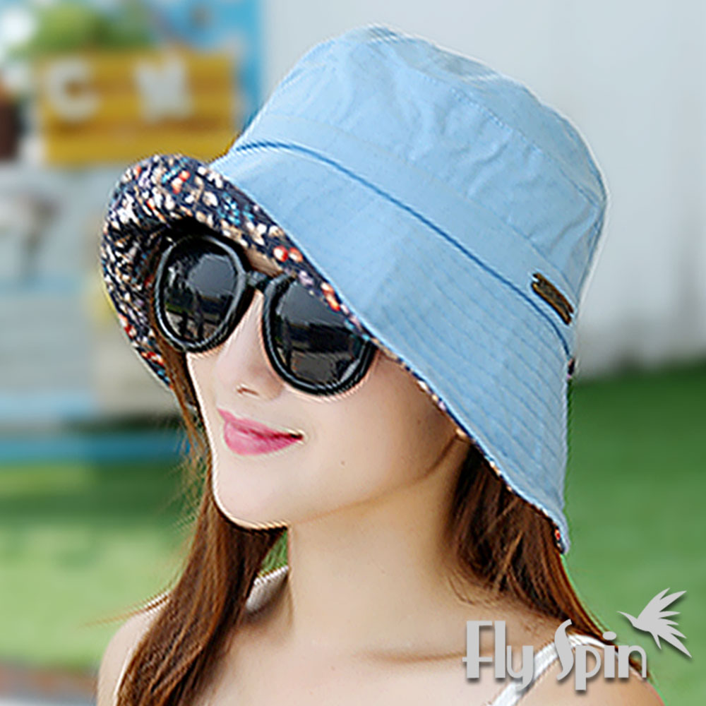 FLYSPIN 女款抗紫外線UV亞麻棉高頂漁夫帽