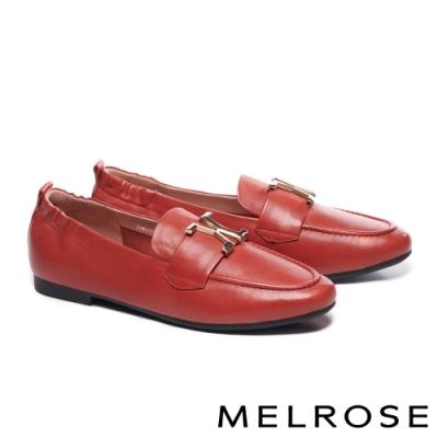 低跟鞋 MELROSE 質感知性金屬飾釦全真皮樂福低跟鞋-紅