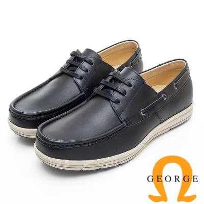 GEORGE 喬治皮鞋 輕量系列-經典舒適綁帶休閒鞋-黑色