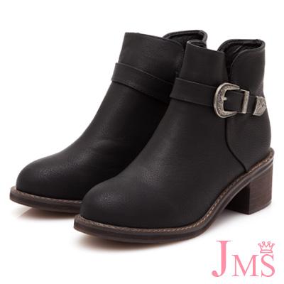 JMS-簡約帥氣側V口復古單扣環短靴-黑色