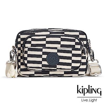 Kipling 斜背包 黑白撞色格子-小