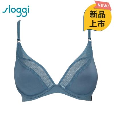 sloggi S by sloggi簡約輕奢系列 Silhouette下厚上薄低V款 D罩杯內衣 礦石藍 16-8117 88