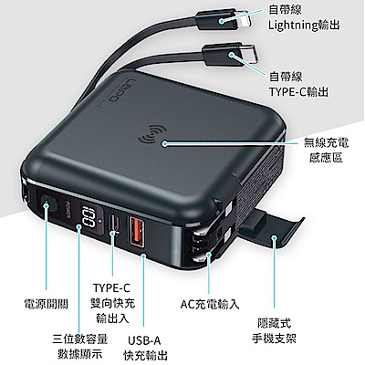 【Lapo】Lapo all in 1 PD WT-01AW 多功能快充無線充電行動電源-輸出自帶線(原廠公司貨)