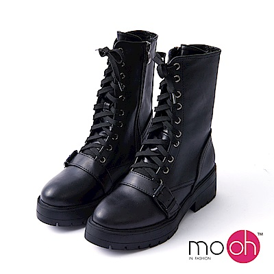 mo.oh-.真皮厚底皮帶扣綁帶機車靴-黑色
