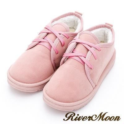 River&Moon雪靴-暖呼呼鋪毛俏麗綁帶Q軟底短靴-粉