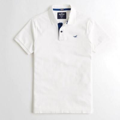 Hollister HCO 小海鷗 藍刺繡 白色素面 短袖POLO衫(白色-S)