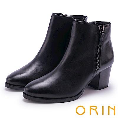 ORIN 流行個性元素 雙側拉鍊素面低跟短靴-黑色