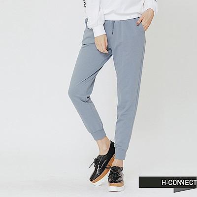 H:CONNECT 韓國品牌 女裝-鬆緊設計休閒棉褲-藍