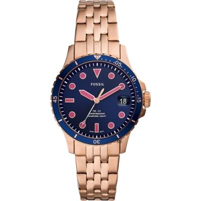 FOSSIL FB-01 個性時尚大三針鍊帶女錶(ES4767)-藍x玫瑰金x36mm
