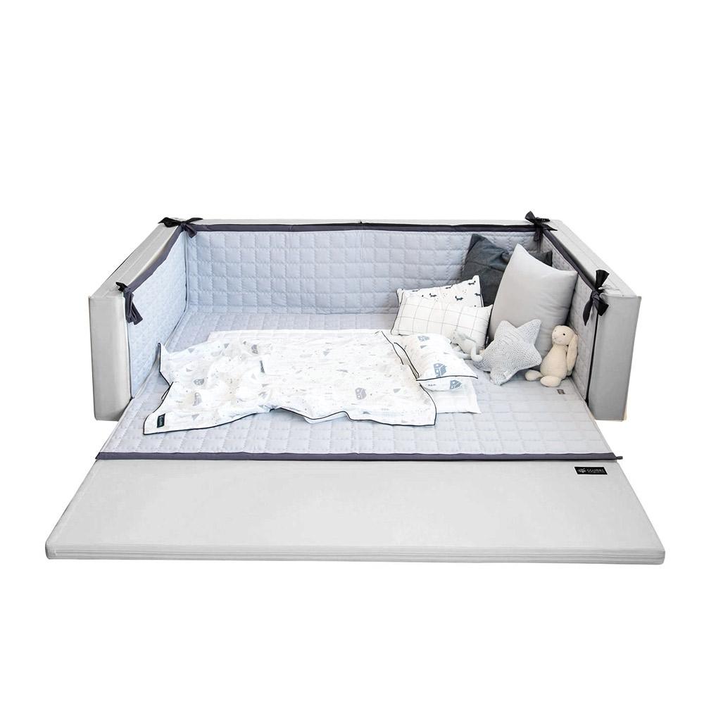 韓國GGUMBI 多功能圍欄地墊式嬰兒床-twinstar灰色