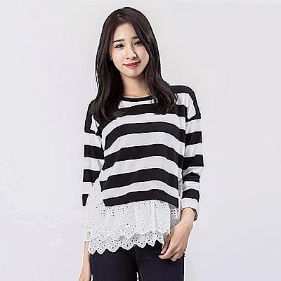 Victoria 異材質拼接變化長袖T-女-黑白條