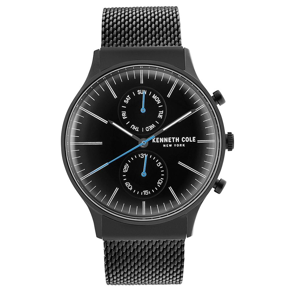 KENNETH COLE  時尚簡約米蘭錶帶腕錶 -黑色/43mm