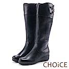 CHOiCE 復古潮流再現 造型皮帶騎士平底長靴-黑色