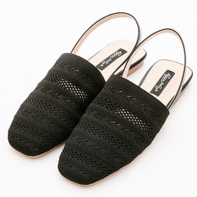 River&Moon舒適針織方頭平底穆勒鞋*黑