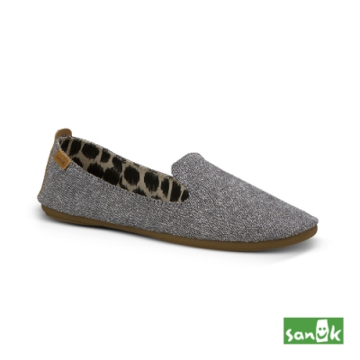 SANUK 女款 US7 舒適帆布平底鞋(灰色)