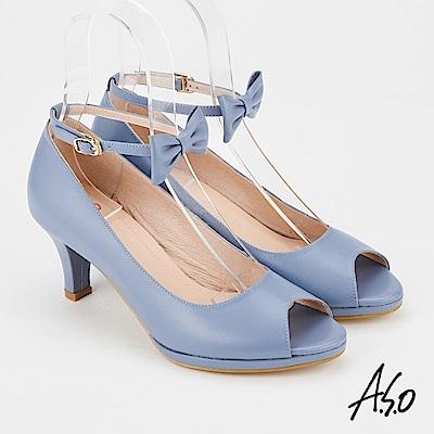 A.S.O 百變女伶  全真皮摩登蝴蝶結低跟魚口鞋藍色