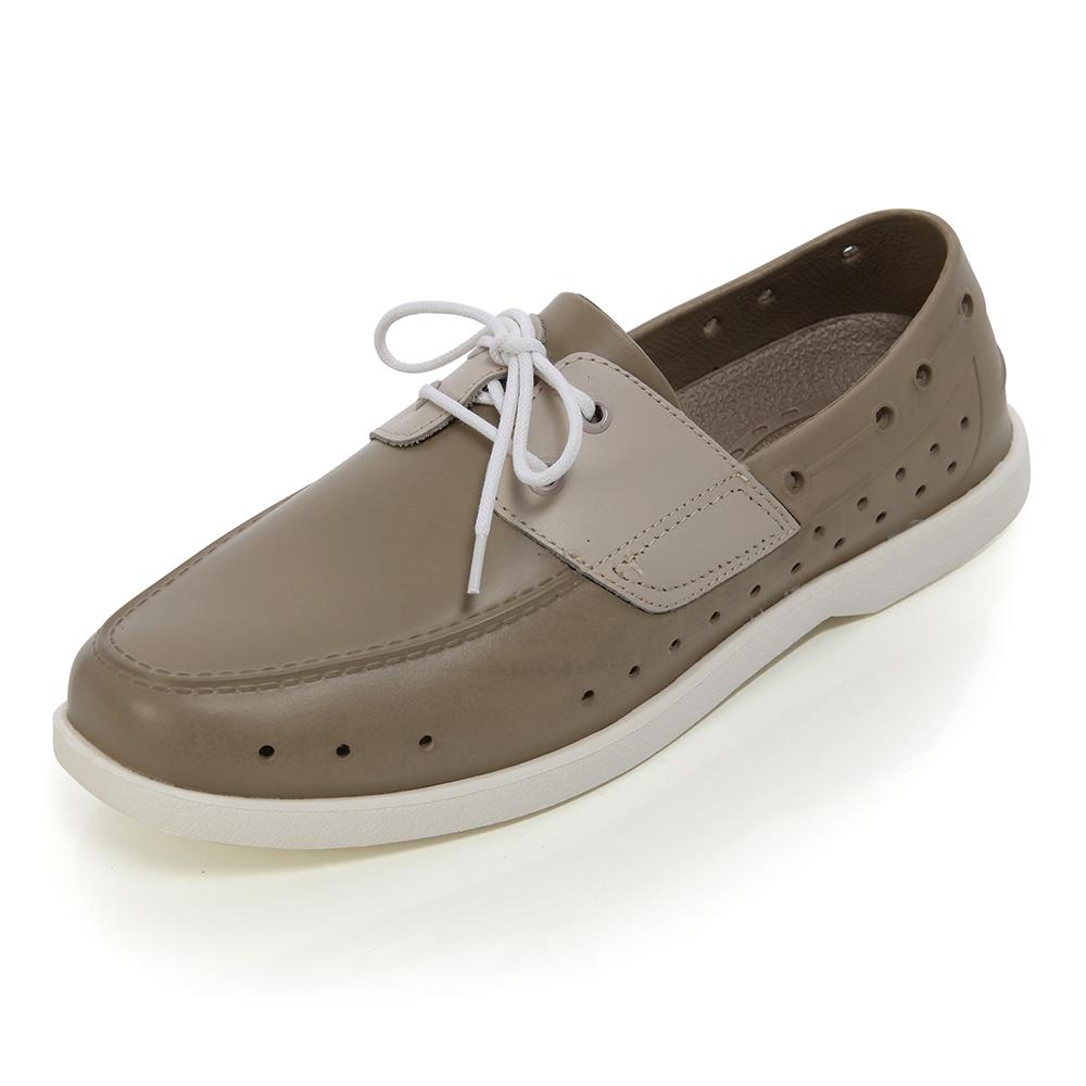 (女)Ponic&Co美國加州環保防水洞洞綁帶帆船鞋-卡其