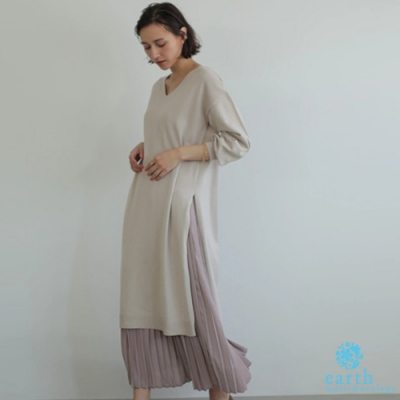 earth music 【SET ITEM】開叉針織連身裙+百褶長裙
