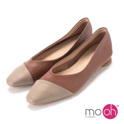 mo.oh-柔軟復古低跟娃娃鞋-灰棕色